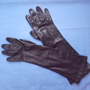 50s VTG Elbow Length BLK Kid Skin Leather Gloves